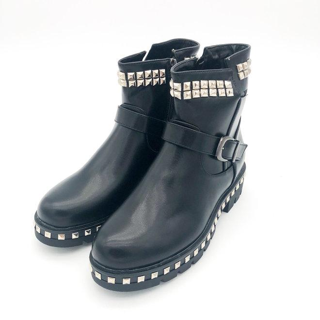 Biker boots met studs & gesp Zwart