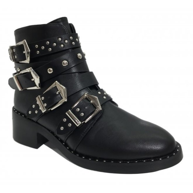 Boots zilveren gespen & studs Zwart