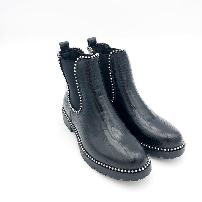 Chelsea boots met studs Zwart croco