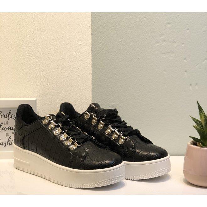 Sneakers plateau Zwart croco