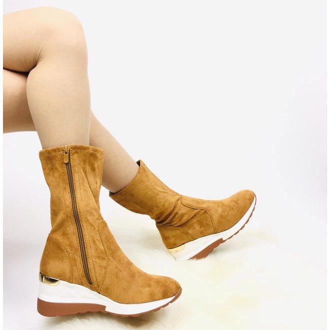 Sneaker boots Camel suède