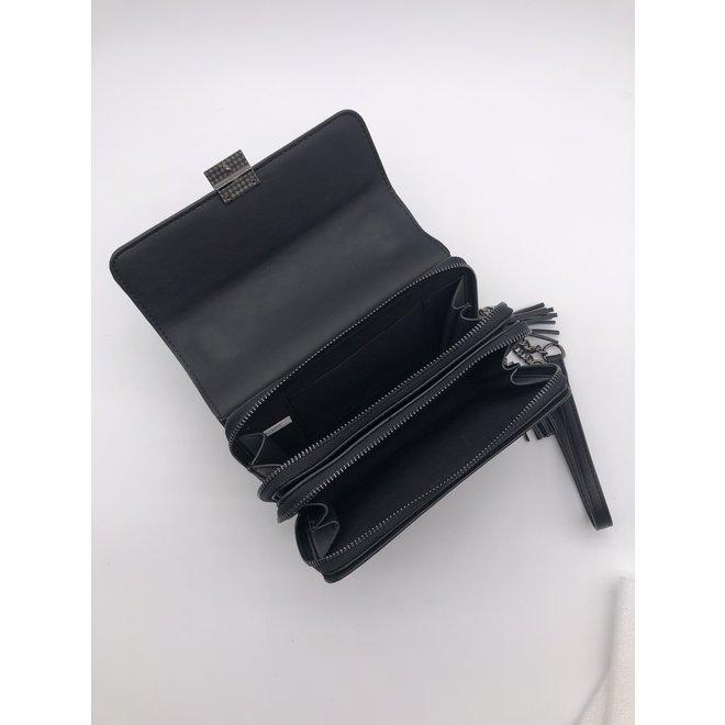 Schouder tas  chain Zwart croco mini