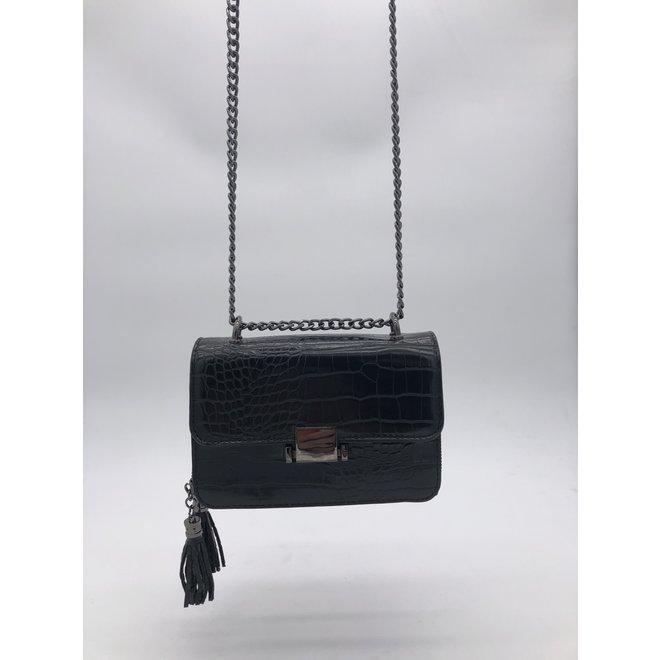 Schouder tas chain Zwart croc