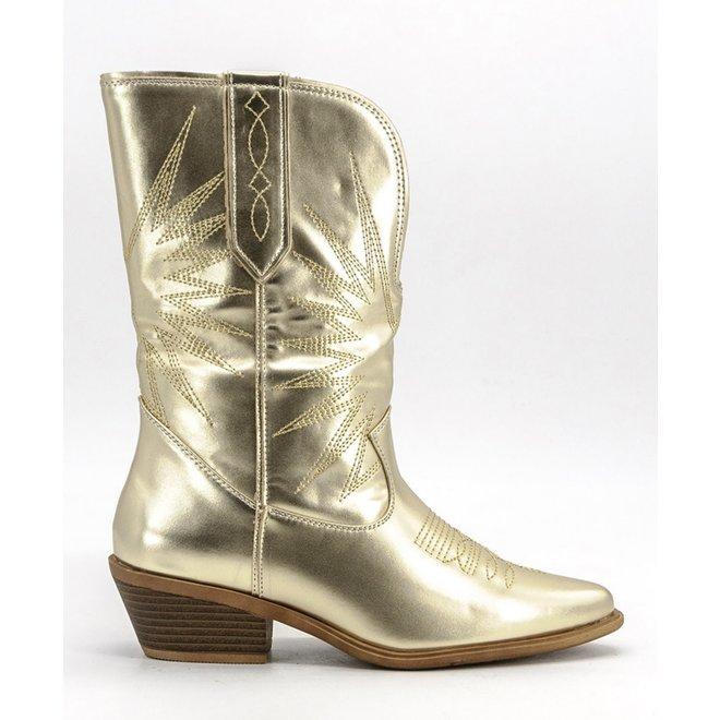 Cowboy laarzen met stiksels Goud