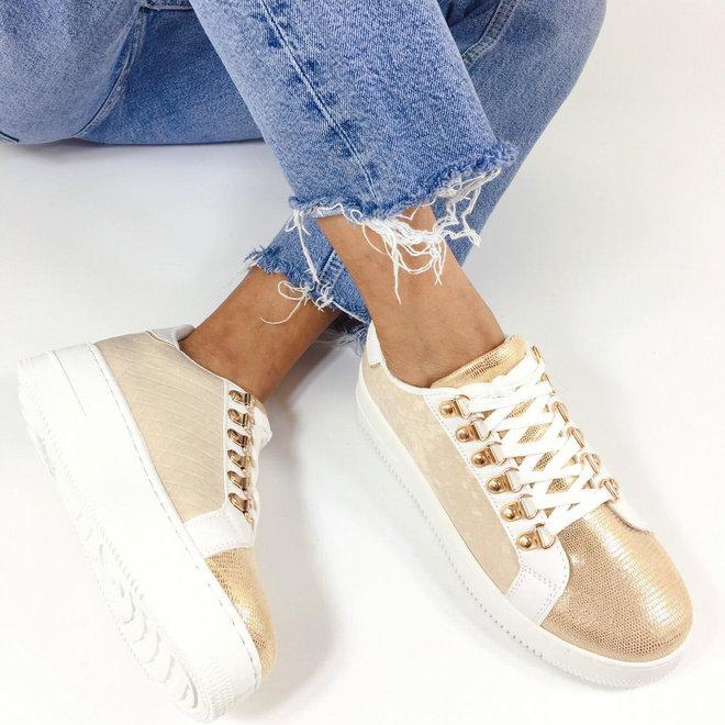 Sneakers plateau goldy Beige