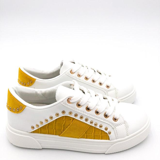 Sneakers croco studs Wit Oker