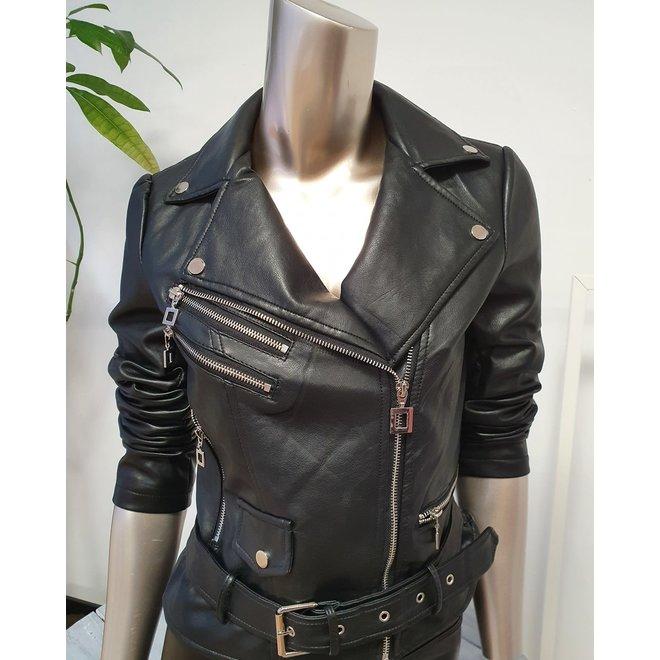 Bikerjasje Leatherlook Zwart