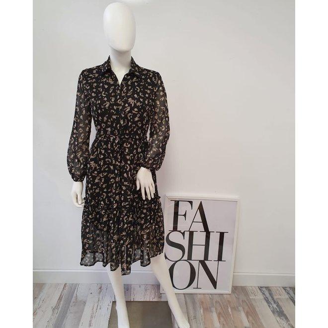 Midi dress Zwart print Beige Goud