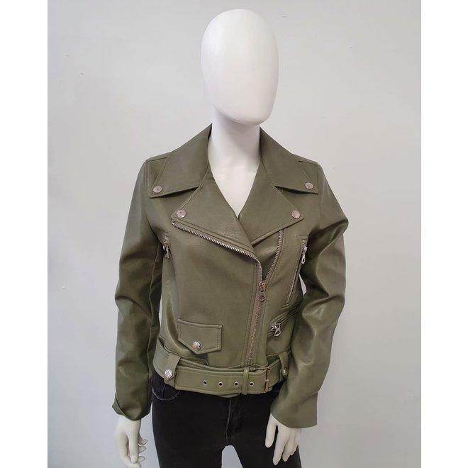 Bikerjasje leatherlook vertical zipper