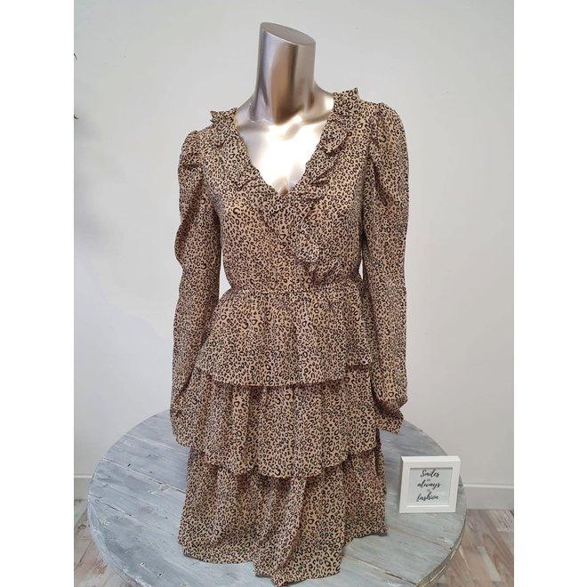 Ruffle Dress Leopard Beige