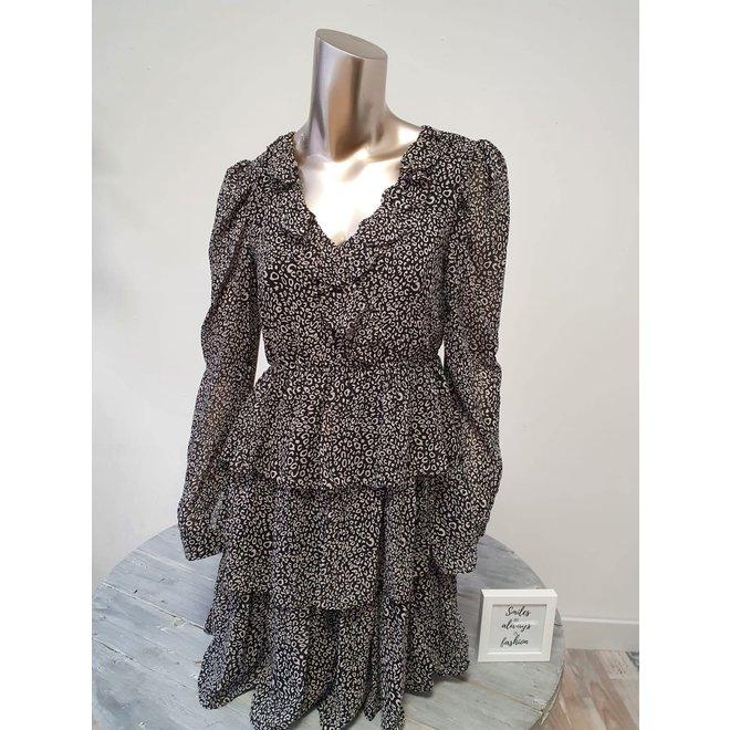 Ruffle Dress Leopard Zwart