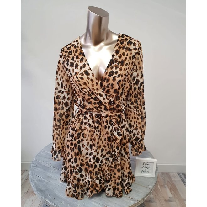 Wrap Midi Dress Leopard