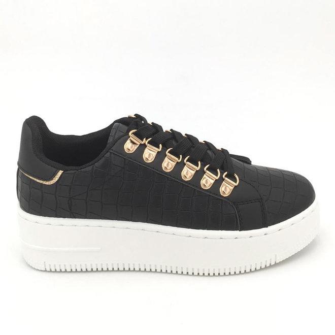 Sneakers plateau goldy Zwart croco