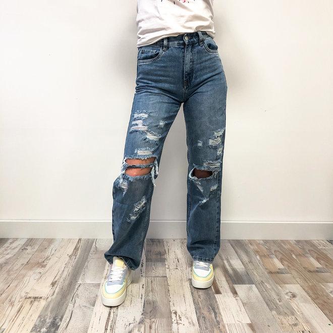 Mom Jeans destroyed Light blue