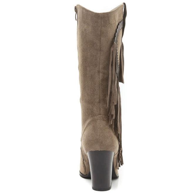 Bohemian laarzen met franjes Taupe-Khaki