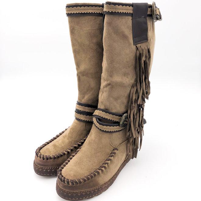 Bohemian boots Franjes Hoog Taupe Khaki