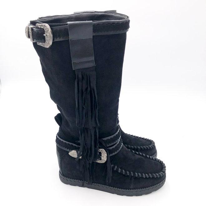 Bohemian boots Franjes Hoog Zwart