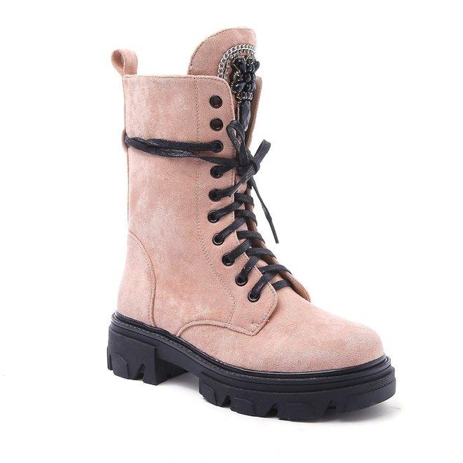 Veterboots Broche Pink suede
