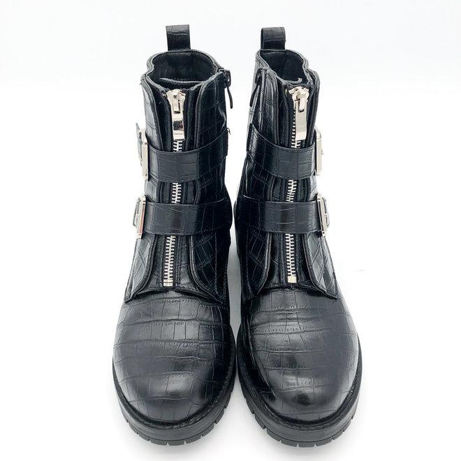 Biker boots zilveren gespen Zwart croco