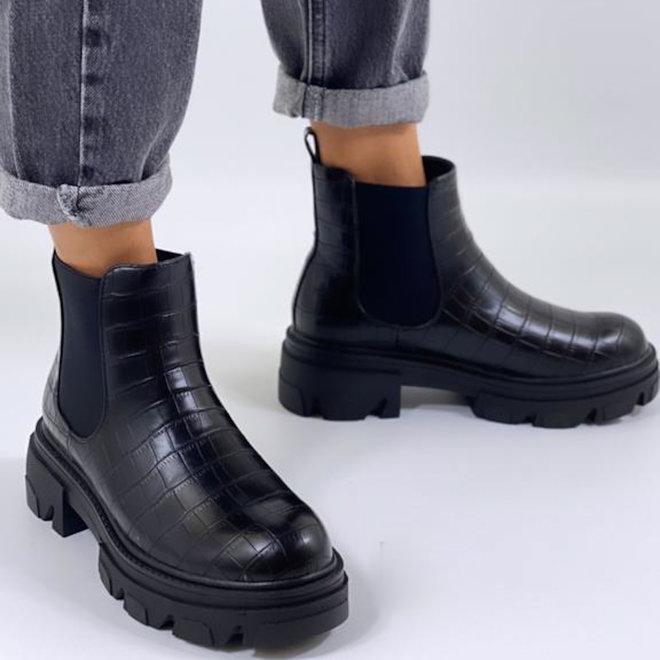 Chelsea boots Plateau Zwart Croco