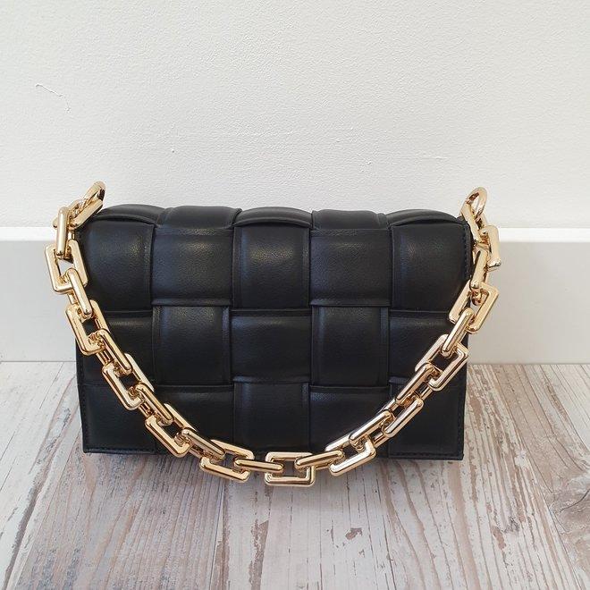 Schoudertas Block Chain Zwart Goud