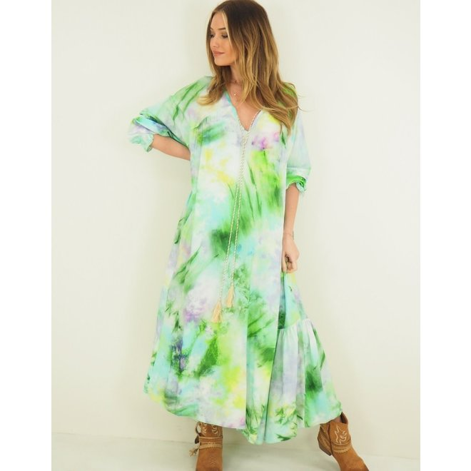 Jurk Oversized Tie and Dye Lime green