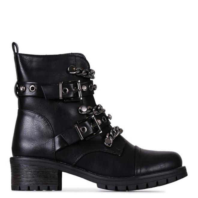 Biker boots Ketting Gespen Zwart Zilver