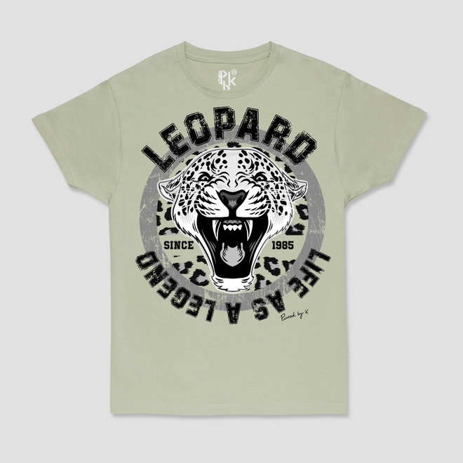 T-Shirt Black Leopard Pistache Green