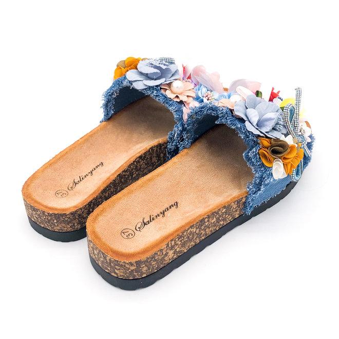 Slippers Bloemen Blauw