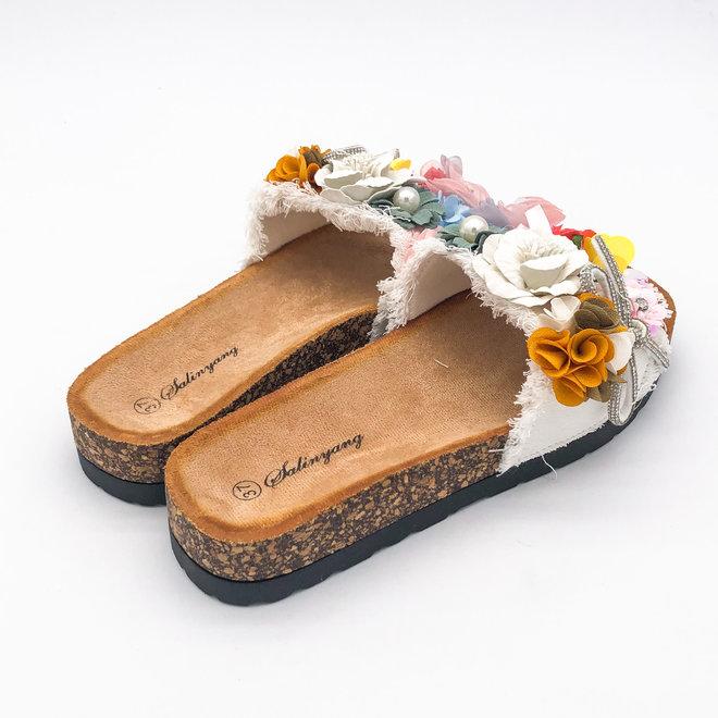 Slippers Bloemen Wit