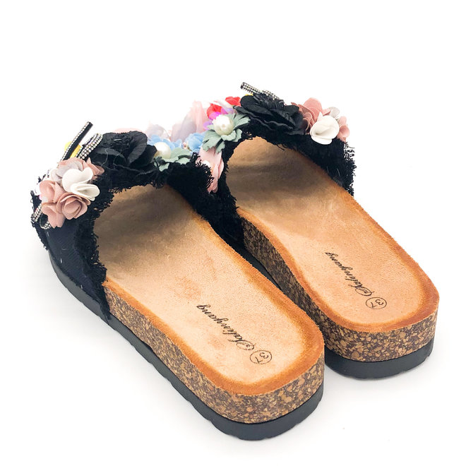 Slippers Bloemen Zwart