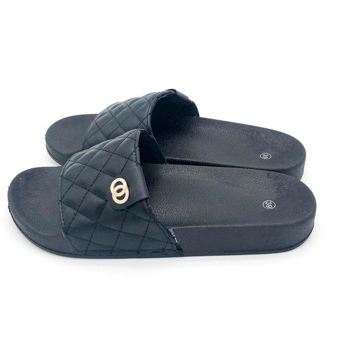 Slippers Braid CC Zwart