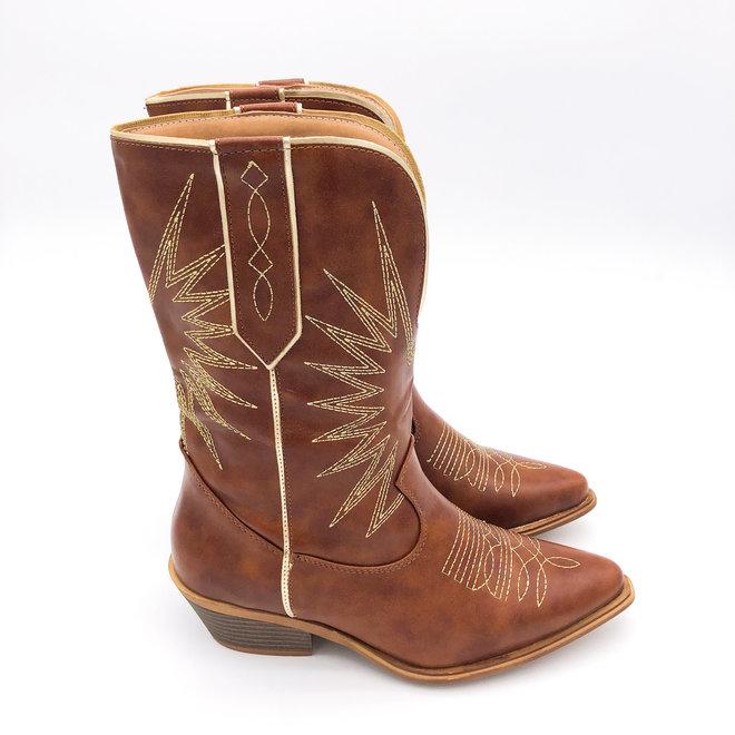 Cowboylaarzen gouden stiksels Camel
