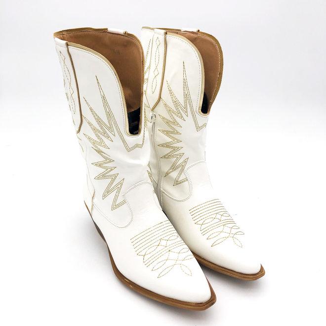 Cowboylaarzen gouden stiksels Wit