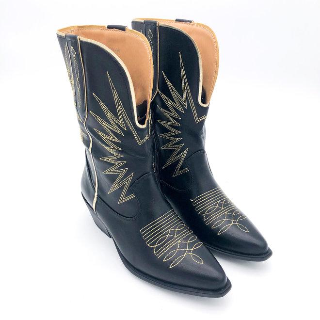 Cowboylaarzen gouden stiksels Zwart