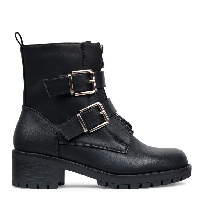 Biker boots met zilveren gespen Zwart