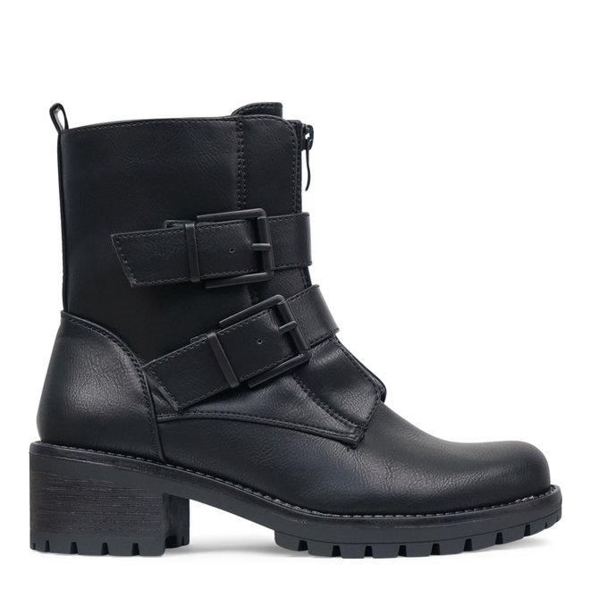 Biker boots zwarte gespen Zwart