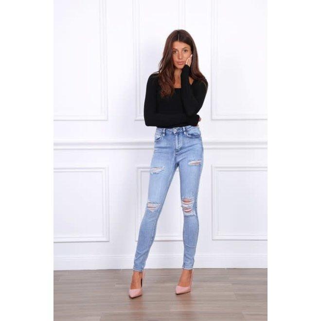 Jeans Skinny Destroyed Medium Blue