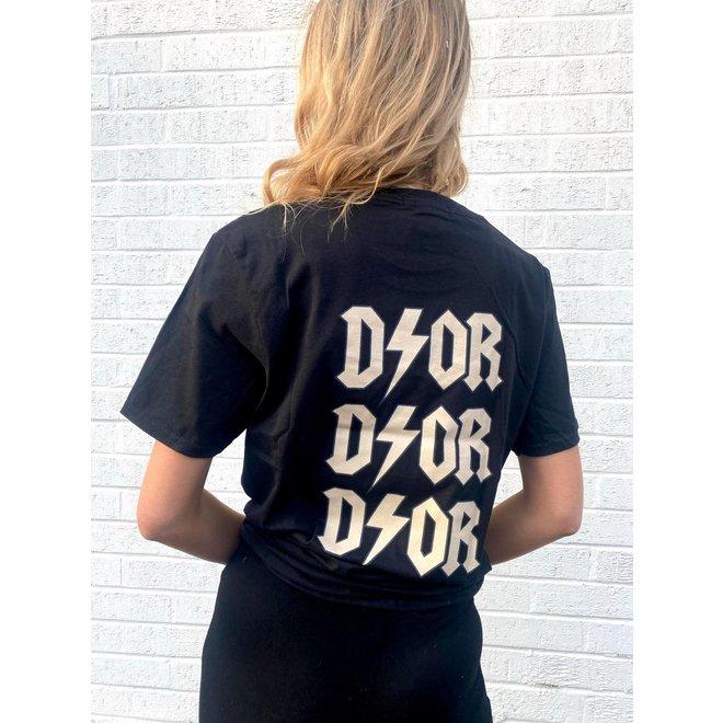 T-shirt D ⚡ O R Zwart Beige