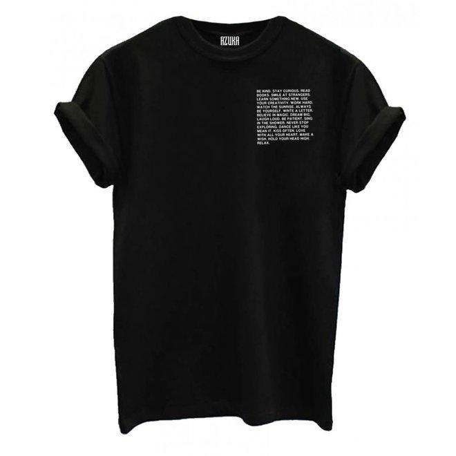 Azuka Dames t-shirt Be Kind Zwart korte mouw rock fit