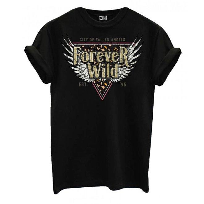 Azuka Dames t-shirt Forever Wild Zwart korte mouw rock fit
