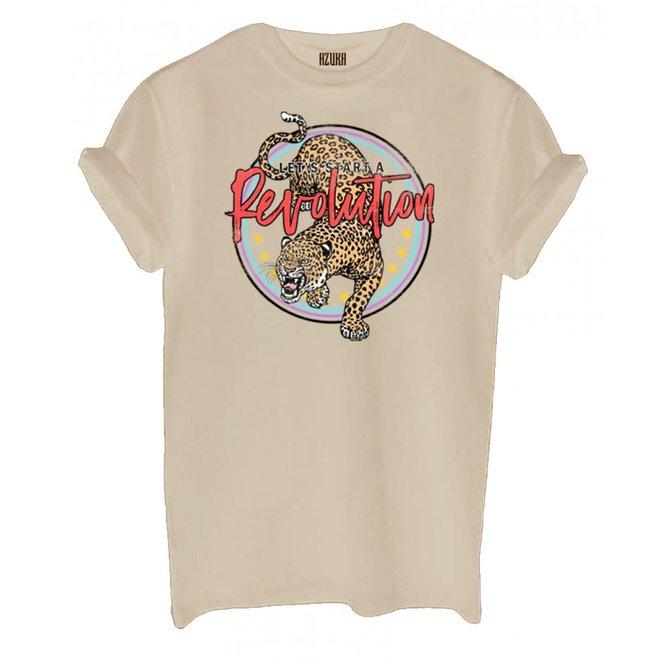 Azuka Dames t-shirt Revolution Sand korte mouw rock fit