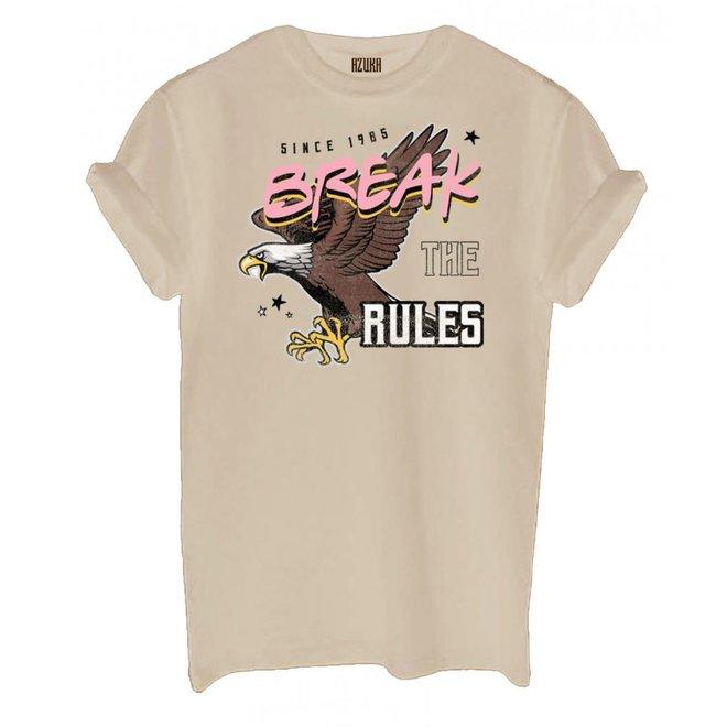 Azuka Dames t-shirt Break The Rules Sand korte mouw rock fit