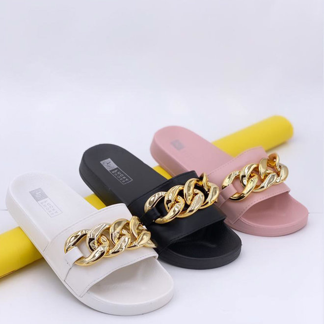 Slippers Chainy Wit Goud