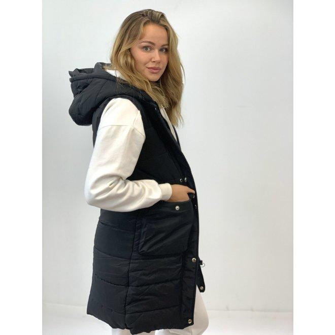 Bodywarmer lang Pocket Zwart