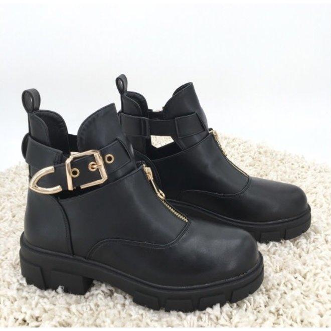 Biker boots open gouden gesp en rits Zwart