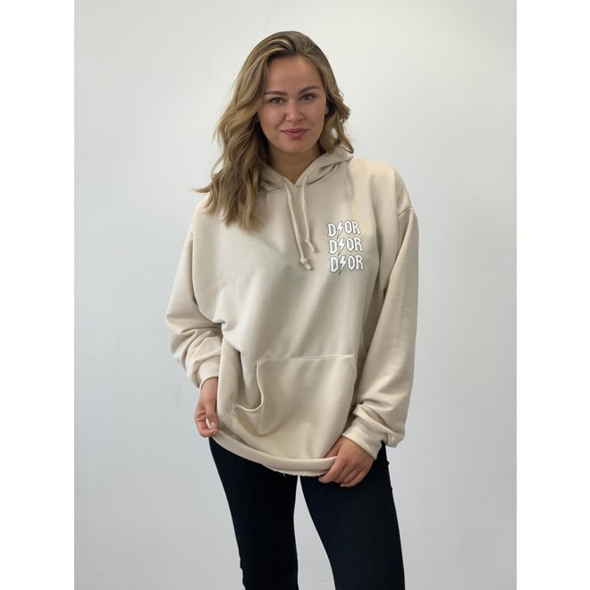 D ⚡ O R Oversized Hoodie Beige/Wit One Size
