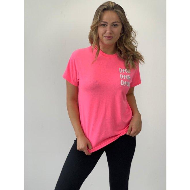 T-shirt D ⚡ O R Roze Wit