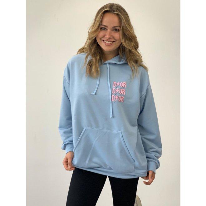 D ⚡ O R Oversized Hoodie Blauw/Roze One Size