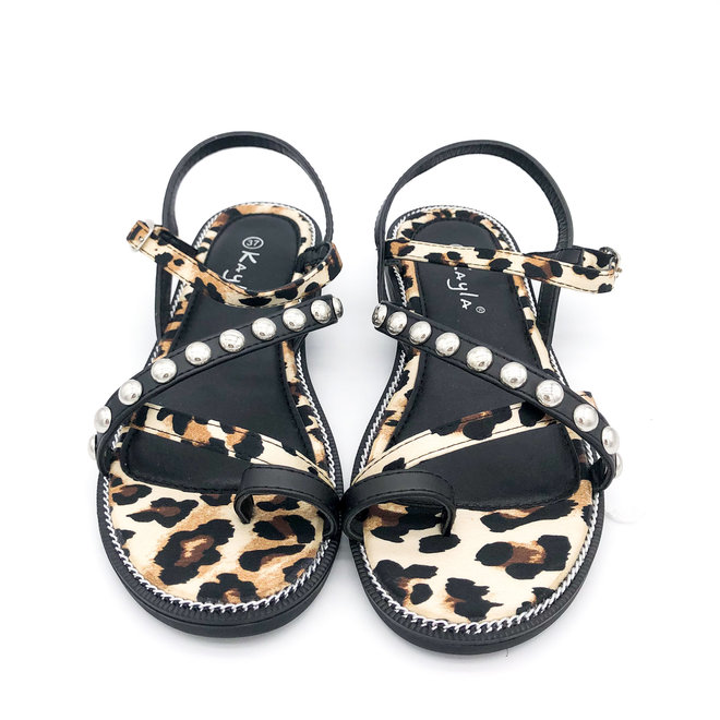 Sandaaltjes Studs Zwart Leopard